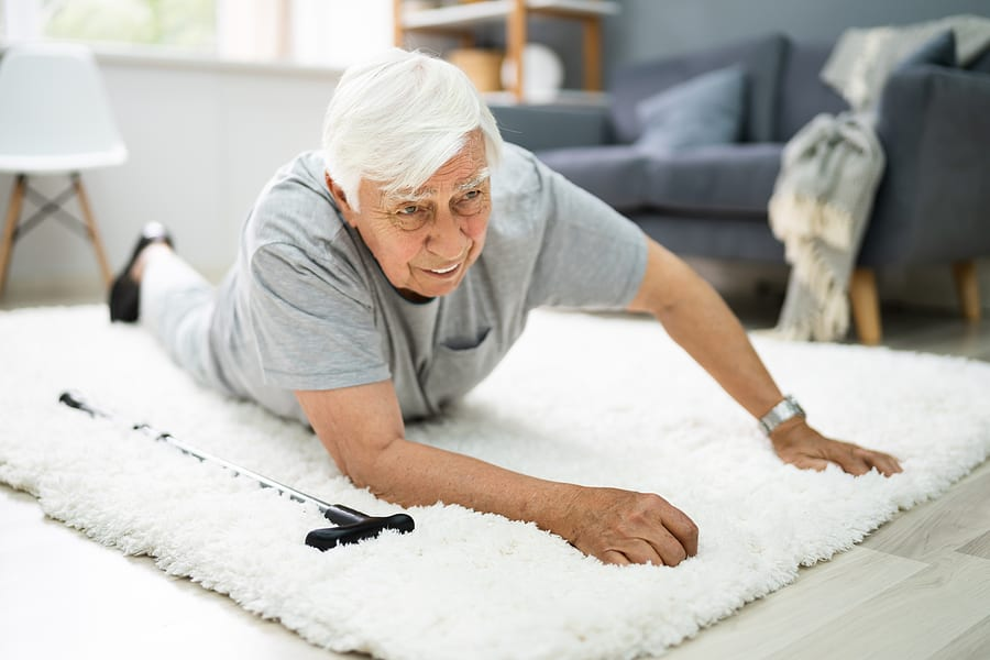 Elderly man tripped over rug, safety risks in the home